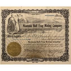 NV - Bullfrog,Nye County - 1906 - Montana Bull Frog Mining Company Stock - Gil Schmidtmann Collectio