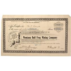NV - Bullfrog,Nye County - 1906 - Montana Bull Frog Mining Company Stock Certificate - Gil Schmidtma