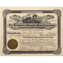 NV - Bullfrog,Nye County - 1910 - Montgomery Mountain Mines Corporation Stock - Gil Schmidtmann Coll
