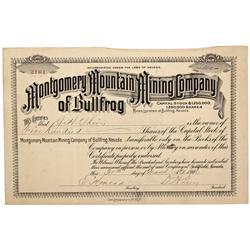 NV - Bullfrog,Nye County - 1906 - Montgomery Mountain Mining Company of Bullfrog Stock - Gil Schmidt