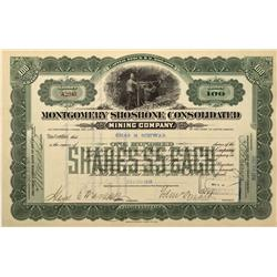 NV - Bullfrog,Nye County - 1910 - Montgomery Shoshone Consolidated Mining Company Stock - Fenske Col