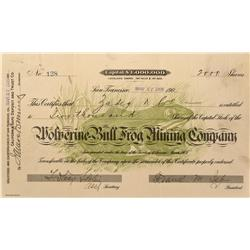 NV - Bullfrog,Nye County - 1905 - Wolverine-Bullfrog  Mining Company Stock - Gil Schmidtmann Collect