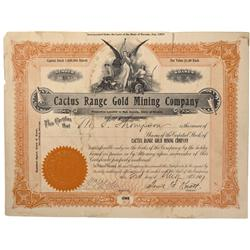 NV - Death Valley,Nye County - 1907 - Cactus Range Gold Mining Company Stock Certificate - Gil Schmi