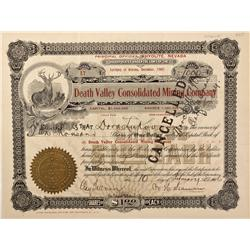 NV - Death Valley,Nye County - 1906 - Death Valley Consolidated Mining Company Stock Certificate - G