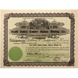 NV - Death Valley,Nye County - 1907 - Death Valley Copper Glance Mining Company Stock Certificate -