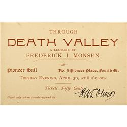 NV - Death Valley,Nye County - c1900 - Death Valley Lecture Announcement