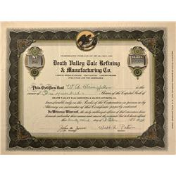 NV - Death Valley,Nye County - 1920 - Death Valley Talc Refining & Manufacturing Company Stock Certi