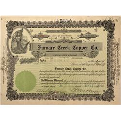 NV - Death Valley,Nye County - 1906 - Furnace Creek Copper Company Stock Certificate - Gil Schmidtma