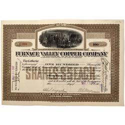 NV - Death Valley,Nye County - 1907 - Furnace Valley Copper Company Stock Certificate - Gil Schmidtm