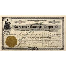 NV - Death Valley,Nye County - 1906 - Greenwater Saratoga Copper Company Stock - Gil Schmidtmann Col