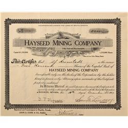 NV - Death Valley,Nye County - 1907 - Hayseed Mining Company Stock