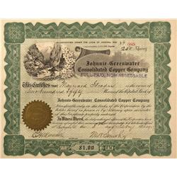 NV - Death Valley,Nye County - 1907 - Johnnie-Greenwater Consolidated Copper Company Stock