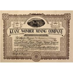NV - Death Valley,Nye County - 1916 - Keane Wonder Mining Company Stock - Clint Maish Collection