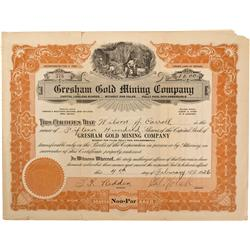 NV - Cactus Peak,Nye County - Feb. 4, 1926 - Gresham Gold Mining Company Stock Certificate