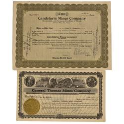 NV - Candelaria,Nye County - 1922-1925 - Candelaria Stocks - Gil Schmidtmann Collection