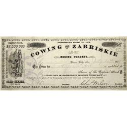 NV - Carson City,Ormsby County - July 12, 1879 - Cowing and Zabriskie Mining Company Stock Certifica