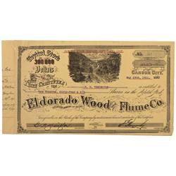 NV - Carson City,Ormsby County - May 19, 1911 - Eldorado Wood & Flume Co. Stock Certificate - Gil Sc