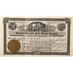 NV - Carson City,Ormsby County - 1907 - Masonir Mountian Gold Mining Company Stock Rare - Fenske Col