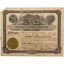 NV - Clark County,March 22, 1928 - Keywest Mining Company Stock Certificate