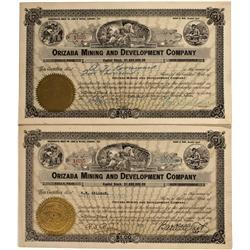 NV - Cloverdale,Nye County - 1920; 1925 - Orizaba Mining and Development Company Stock Certificates