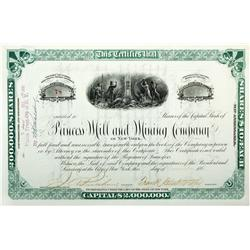 NV - Columbus District,Esmeralda County - 1881 - Princess Mill and Mining Co. Stock Certificate