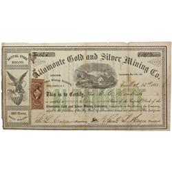 NV - Como,Lyon County - 1863 - Altamonte Gold and Silver Mining Company Stock Certificate - Clint Ma