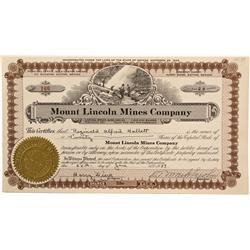 NV - Como,Lyon County - June 28, 1929 - Mount Lincoln Mines Company Stock Certificate