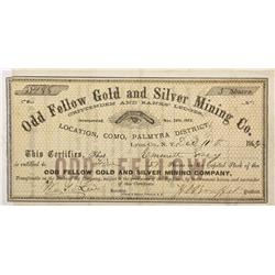 NV - Como,Lyon County - 1863 - Odd Fellow Gold and Silver Mining Company Stock Certificate - Clint M