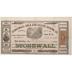 NV - Como,Lyon County - 1863 - Stonewall Gold and Silver Mining Company Stock Certificate - Clint Ma