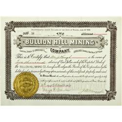 NV - Cortez,Eureka County - 1906 - Bullion Hill Mining Stock Certificate - Fenske Collection