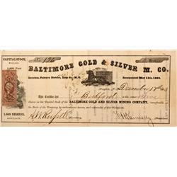 NV - Dayton,Lyon County - 1863 - Baltimore Gold & Silver Mining Company Stock Certificate - Clint Ma