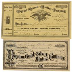 NV - Dayton,Lyon County - 1887 & 1880 - Dayton Stock Certificates - Gil Schmidtmann Collection