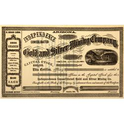 NV - El Dorado Canyon,186- - Independence Consolidated Gold and Silver Mining Company Stock Certific