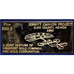 NV - Elko County,1980 - Jerritt Canyon Project Gold Plated Ingot