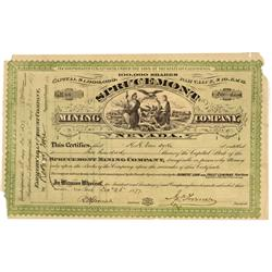 NV - Elko County,December 26, 1877 - Sprucemont Mining Company Stock Certificate - Gil Schmidtmann C