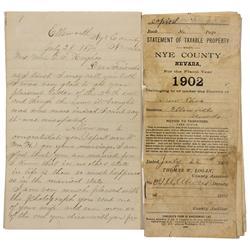 NV - Ellsworth,Nye County - 1874; 1902 - Ellsworth, NV Documents - Clint Maish Collection