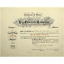 NV - Ely,White Pine County - July 14, 1906 - Ely Townsite Company Stock Certificate