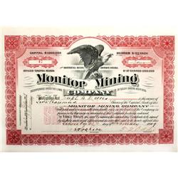 NV - Esmeralda County,1909 - Monitor Mining Co. Stock Certificate
