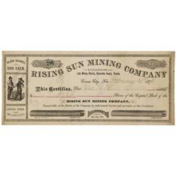 NV - Esmeralda County,1878 - Rising Sun Mining Company Stock Certificate