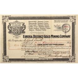 NV - Eureka,Eureka District Gold Mining Company Stock Certificate - Fenske Collection