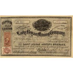 NV - Flowery District,Storey County - March 8, 1869 - Lady Bryan Mining Company Stock Certificate -