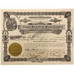 NV - Geneva,Lander County - Aug. 6, 1920 - Nevada Birch Creek Mining Company Stock Certificate