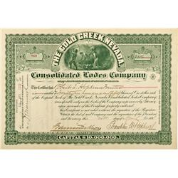 NV - Gold Creek,Elko County - 1898 - The Gold Creek Nevada Consolidated Lodes Company Stock Certific