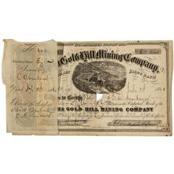 NV - Gold Hill,Storey County - July 8, 1865 - Alpha Gold Hill Mining Company Stock *Territorial* Cer