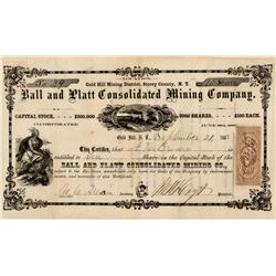NV - Gold Hill,Storey County - Sept. 21, 1863 - Ball and Platt Consolidated Mining Company Stock Cer