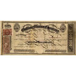NV - Gold Hill,Storey County - April 16, 1867 - Bullion Mining Company Stock Certificate - Clint Mai