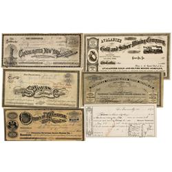 NV - Gold Hill,Storey County - 1870s-1893 - Devil's Gate and Gold Hill Districts Stock Certificates,