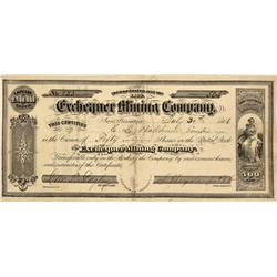 NV - Gold Hill,Storey County - July 30, 1866 - Exchequer Mining Company Stock Certificate - Clint Ma