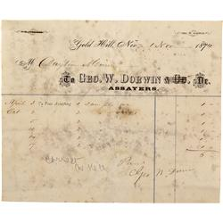 NV - Gold Hill,Storey County - Nov 1, 1874 - Geo. W. Dorwin Assayers Billhead