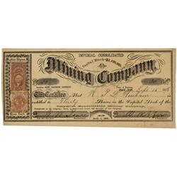 NV - Gold Hill,Storey County - Sept. 15, 1868 - Imperial Consolidated Mining Company Stock Certifica